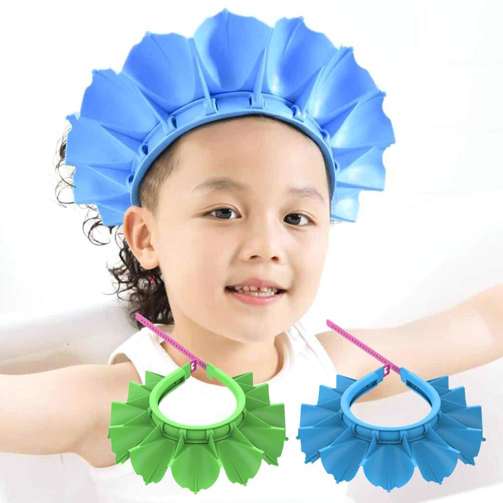 Hiprecky 2PCS Baby Silicone Shampoo Shower Bathing Cap Adjustable Visor Hat Safe Shampoo Shower Bathing Protection Bath Cap, for Toddler Baby Kids Children (Blue+Green)
