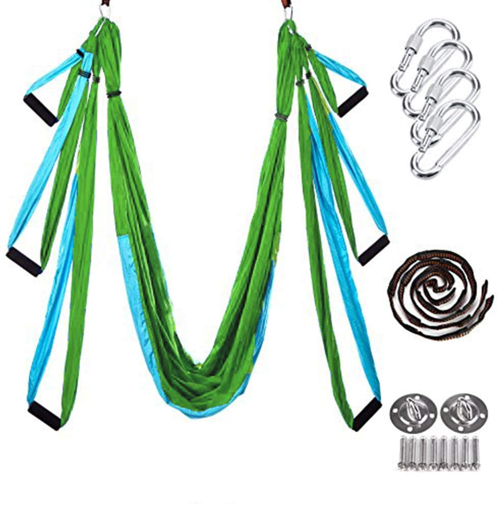 Sky Blue w/Green Strong & Durable Aerial Yoga Hammock Set Trapeze Swing Sling Kit w/Extension Strap Premium Anti Gravity Ceiling Yoga Swing Inversion Exercises Flexibility Improvement of Core Strength