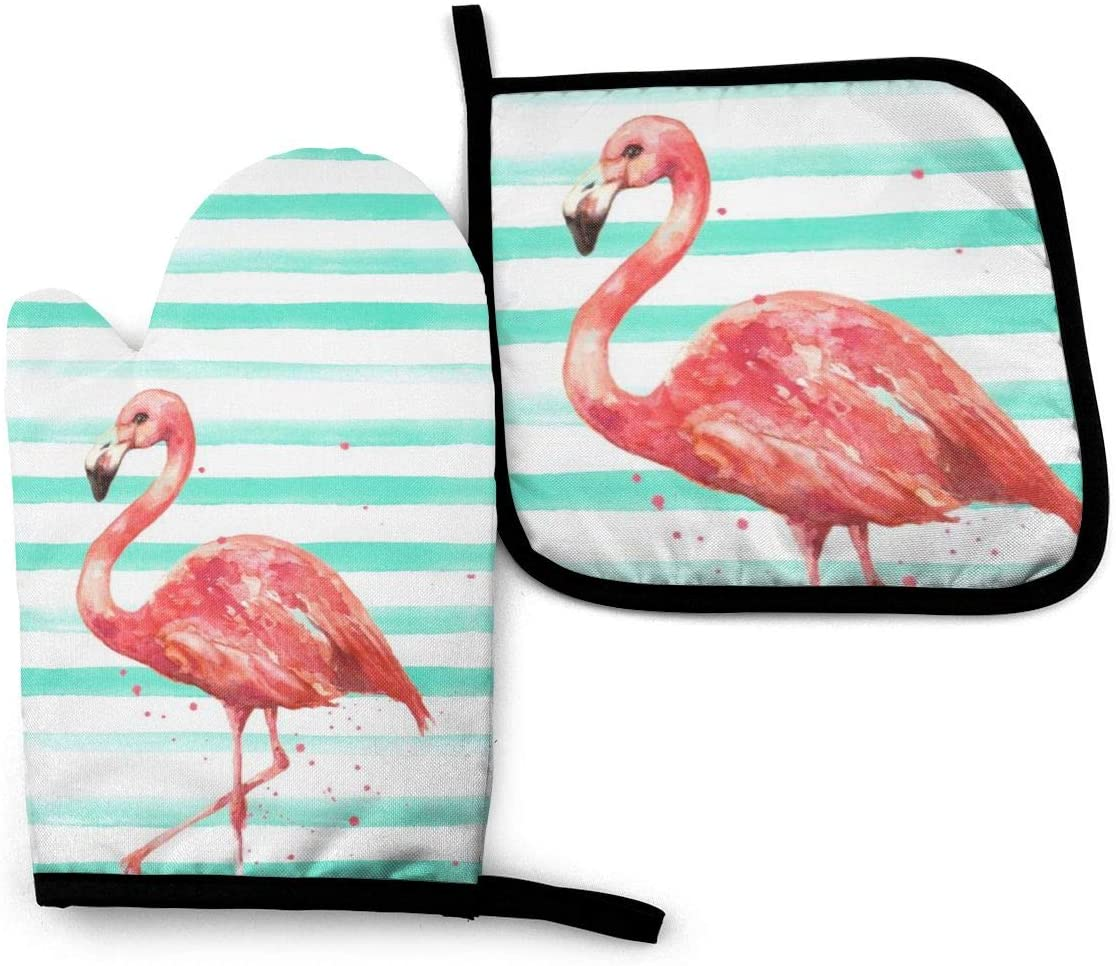 XNLHQH IJ Watercolor Pink Flamingo Mint Stripes 2PCS Heat Resistant Oven Mitts and Pot Holders Sets,for Safe BBQ Cooking Baking Grilling