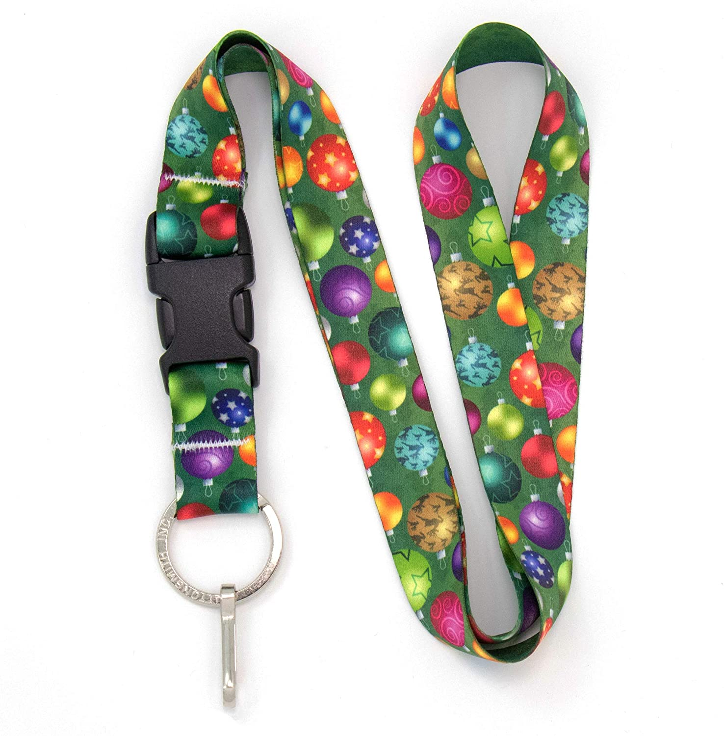 Buttonsmith Christmas Ornaments Premium Lanyard - with Buckle and Flat Ring - Made in The USA