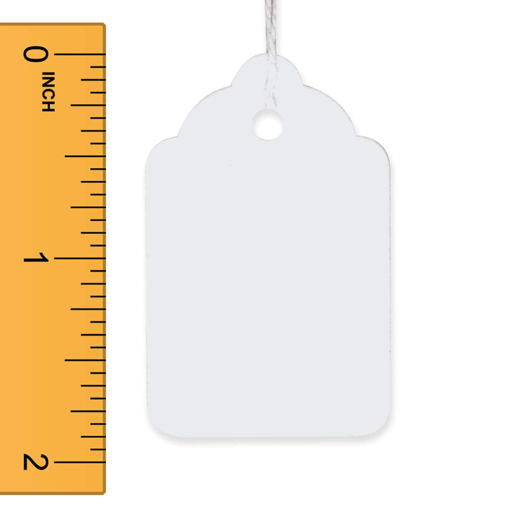 White Strung Merchandise Tags 1.25 W x 1.875 H Inches - Box of 1000 Tags