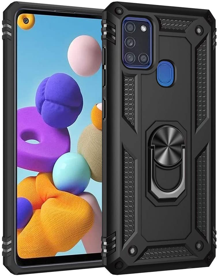 LEMAXELERS Samsung Galaxy A21S Case Shockproof Duty Dual Layer Case with 360 Degree Rotating Ring Holder Kickstand Armor Magnetic Car Mount Protective Cover for Samsung Galaxy A21S Black AC
