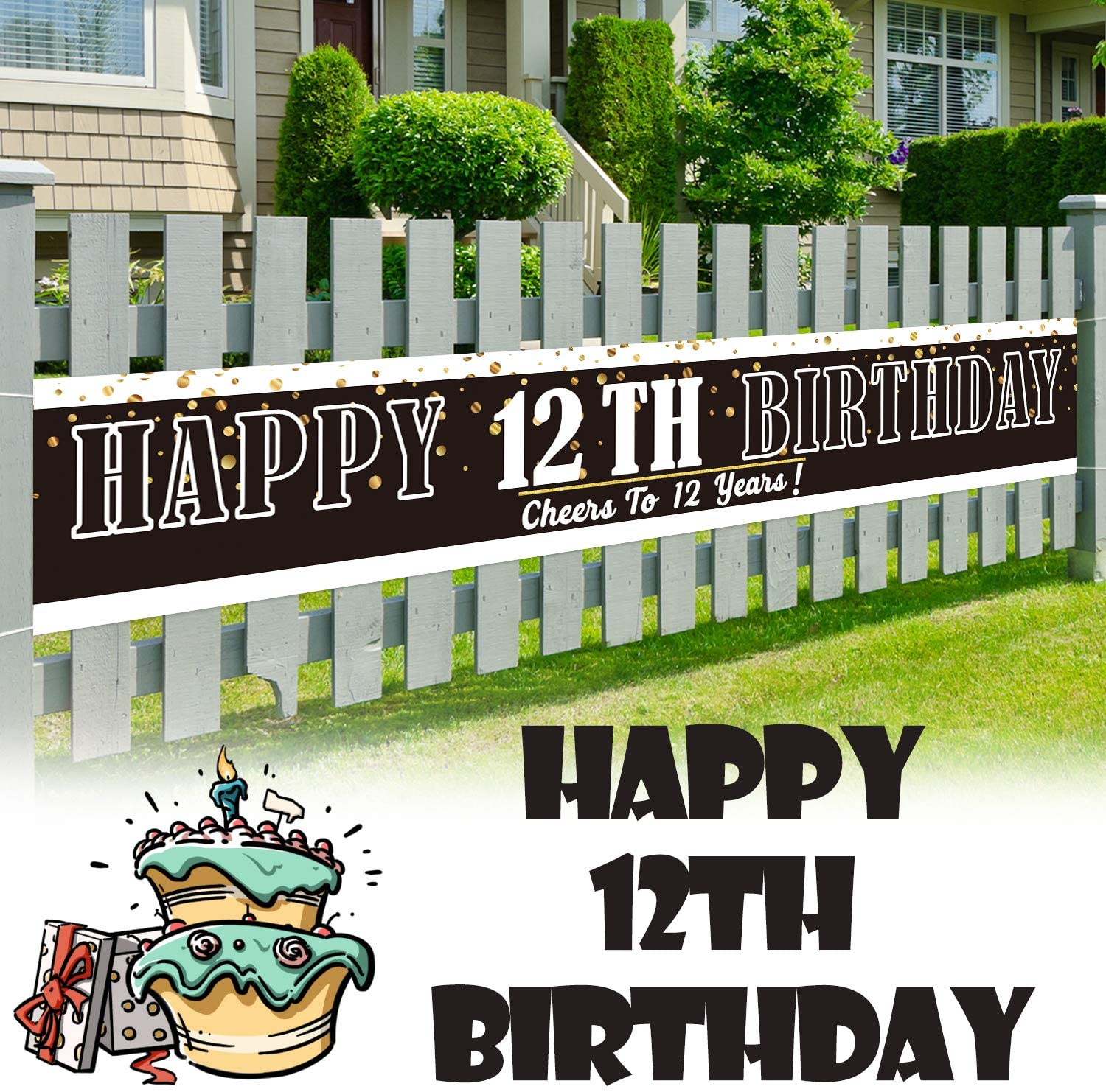 LINGPAR 9.8 x 1.6 ft Large Sign Happy 12th Birthday Banner - Cheers to 12 Years Old Decor