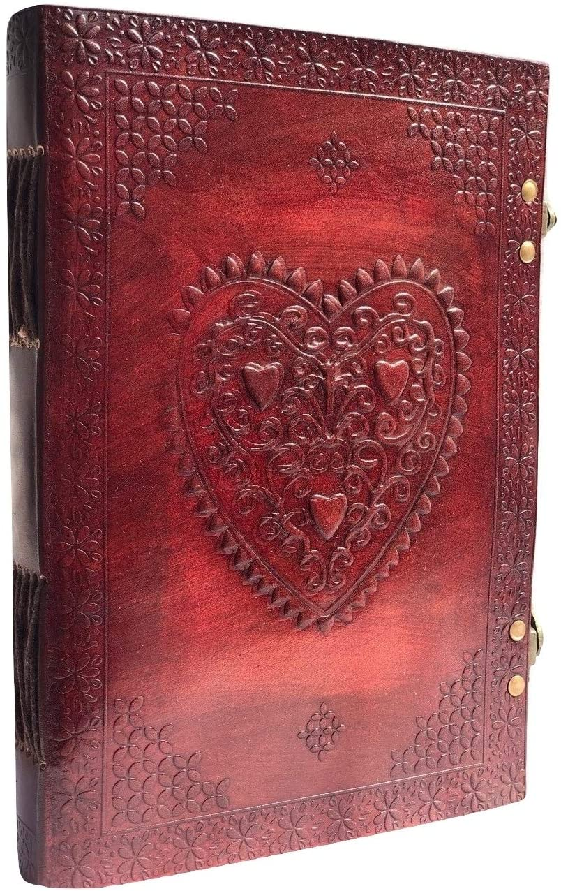 Leather Writing Heart Journal Notebook,Classic Spiral Bound Notebook Refillable Diary Sketchbook Gifts with Unlined Travel Journals to Write in for Girls and Boys (Brown 10x7
