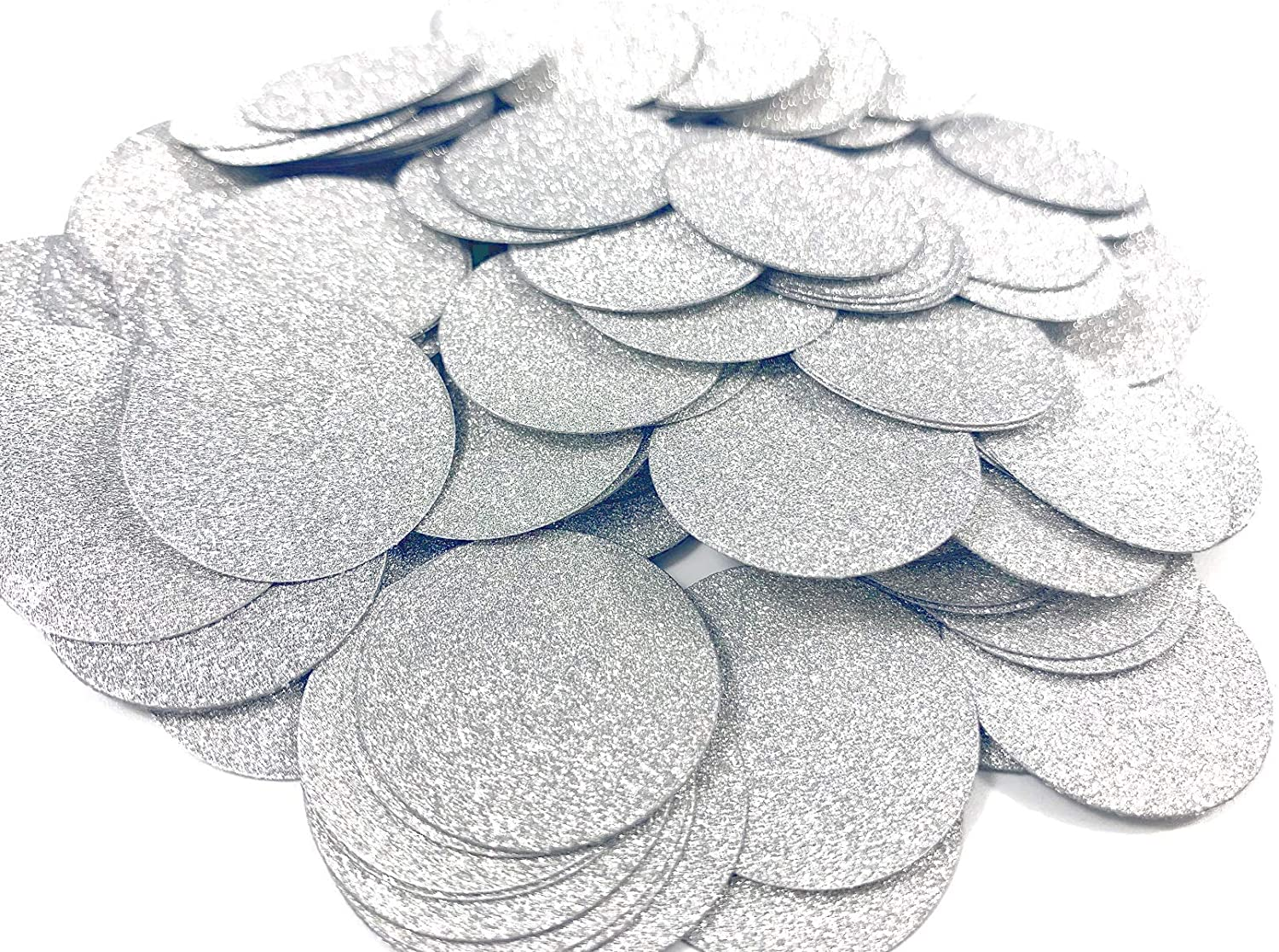 200pcs Round Glitter Paper Confetti, Party Table Floor Decoration, 1.18in, Silver