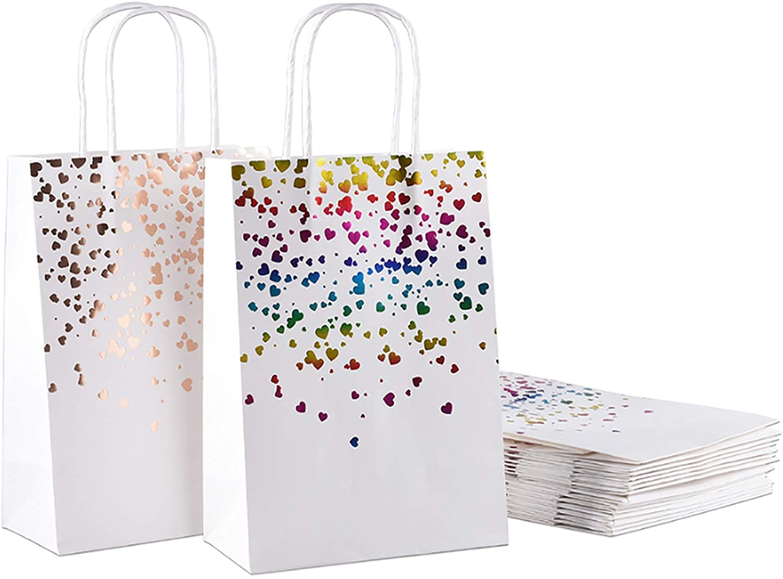 Bronzing Gift Bag with Handle - 16Pcs Medium Premium Kraft Gift Bag Bulk in 2 Styles for Easter,Wedding,Bridal Shower,Birthday Party