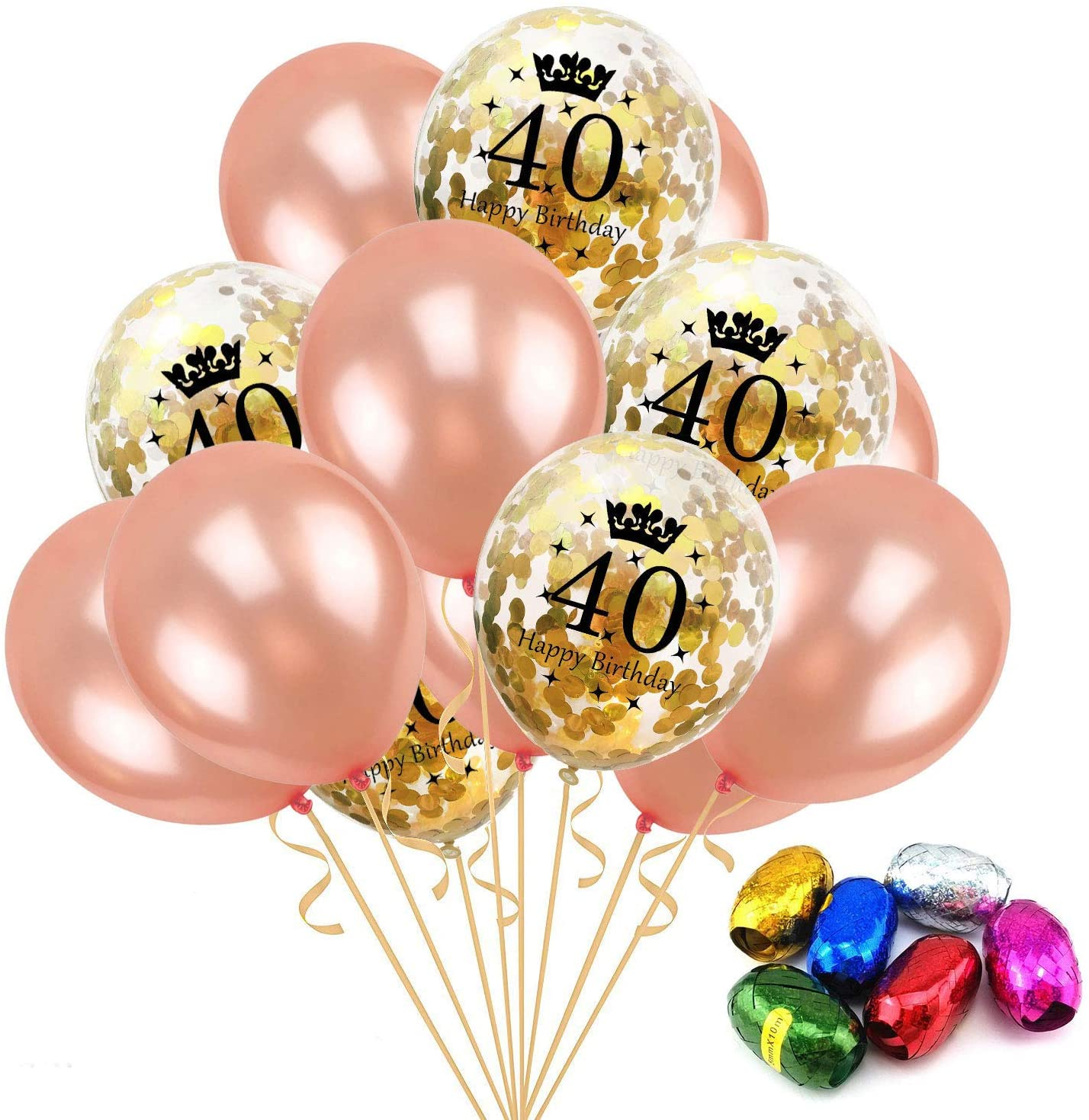 Birthday Rose Gold Balloon Package Gold 40th Number Confetti Balloons for Big Day Wedding Anniversary Party
