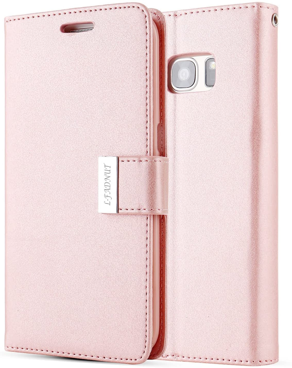 L-FADNUT for Samsung Galaxy S6 Edge Case, Luxury Flip PU Leather Case,Dual Card Slots Metal Megnetic Closure Stand Wallet Card Holder Case Cover for Samsung Galaxy S6 Edge - Rose Gold