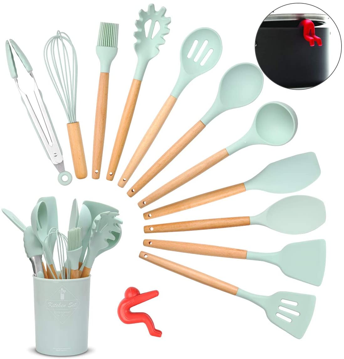 Songway Silicone Cooking Utensils Set,12PCS Kitchen Utensil Set with Wooden Handle,Heat-resistant Turner Tongs Spatula Spoon Kitchen Tools,Come with Free Anti Spill Tool
