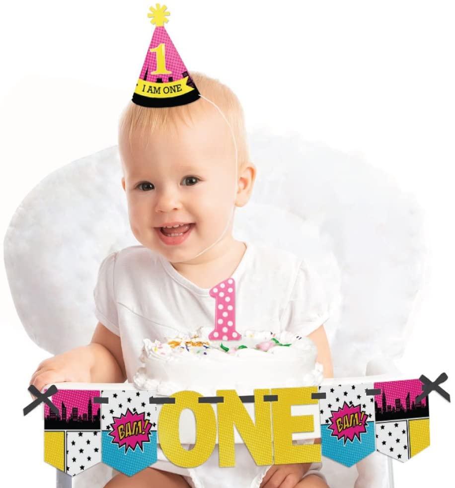 Big Dot of Happiness Bam Girl Superhero 1st Birthday - First Birthday Girl Smash Cake Decorating Kit - High Chair Decorations