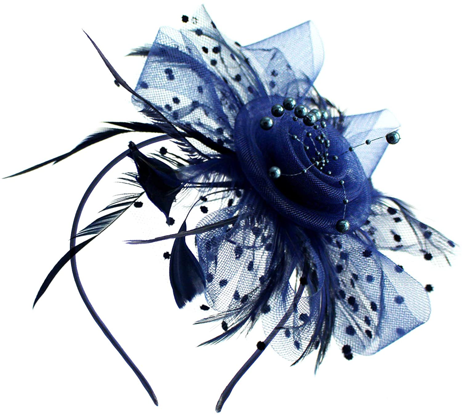 Milaloko Fascinators Hat Flower Mesh Ribbons Feathers on a Headband