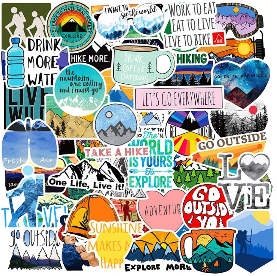 Stickers for Water Bottles, 50 Pcs Cute Outdoor Vsco Trendy Waterproof Stickers for Hydroflasks, Laptop, Phone, Luggage, Skateboard, Guitar, for Girls, Kids, Teens