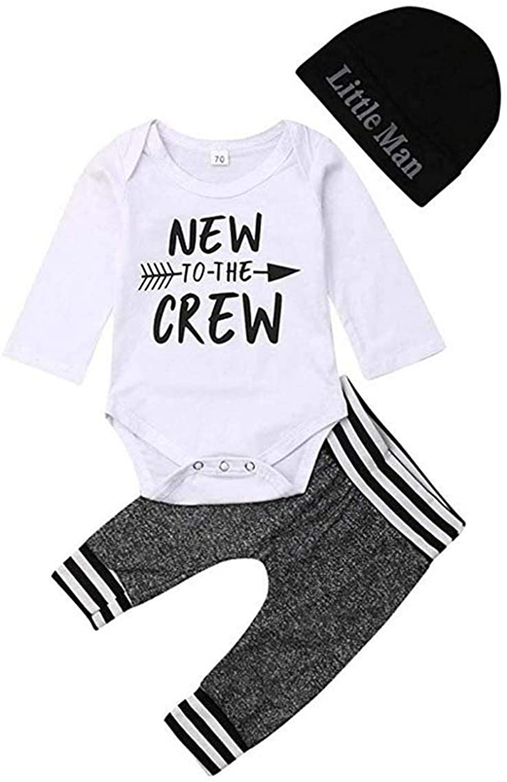 Newborn Toddler Baby Boys Clothes Letters T Shirt Tee Tops+Printed Long Pants Outfits Set