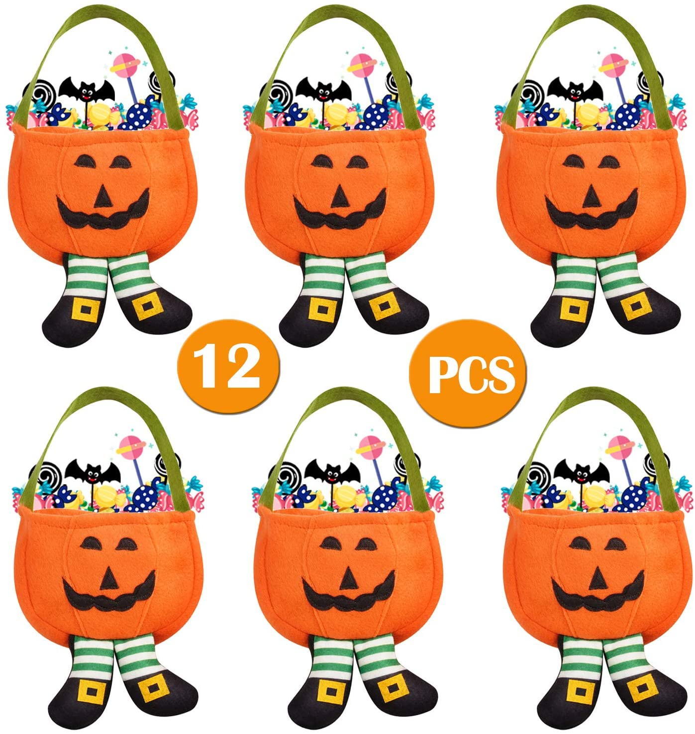 David Rocco Pumpkin Halloween Treat Bag 12 PCS-Halloween Candy Bags for Trick or Treat Non-Woven Cloth Bags for Halloween Favors Holiday Party Supplies and Decoration