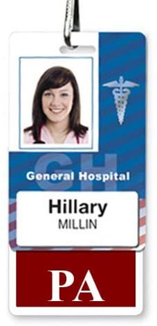 PA Badge Buddy - Heavy Duty Vertical Badge Buddies for Physician Assistants - Spill & Tear Proof Cards - 2 Sided USA Printed Quick Role Identifier ID Tag Backer by Specialist ID