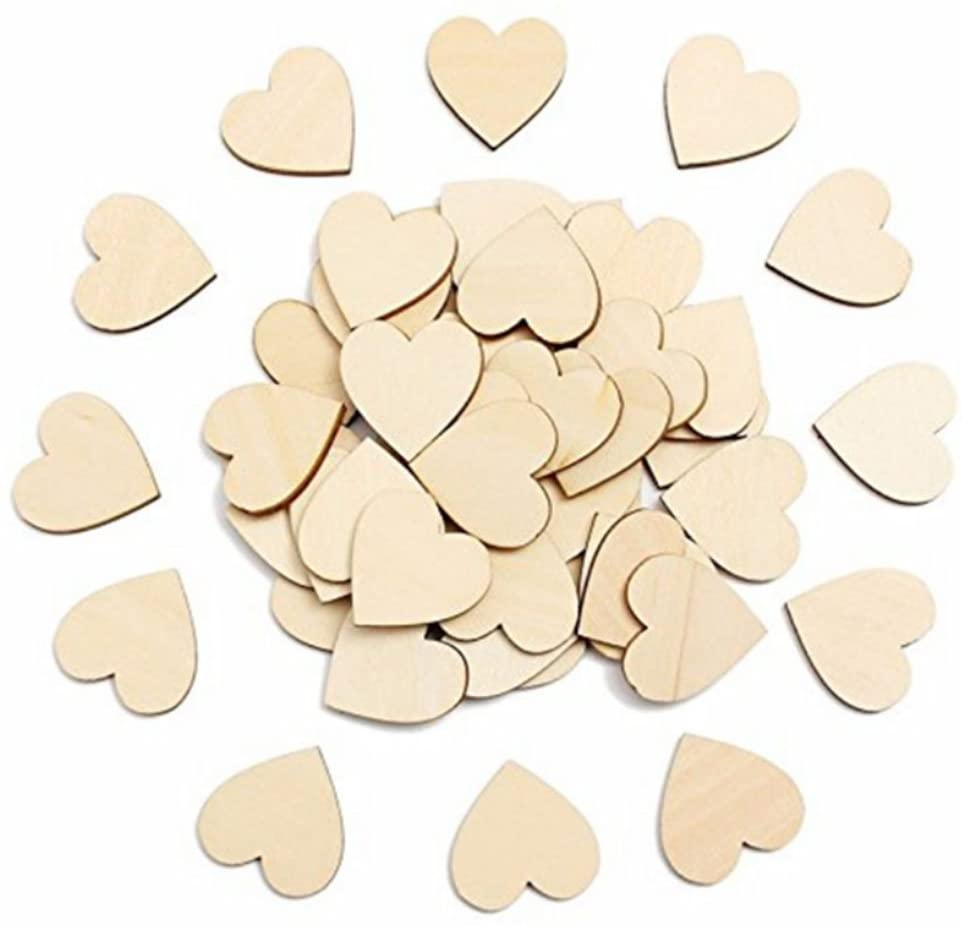 ULTNICE 2cm Wooden Confetti Heart Shaped Crafts Wedding Table Party Confetti Decoration Pack of 50