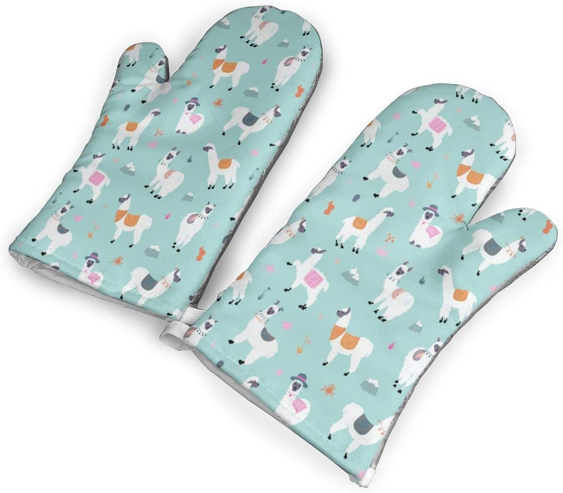 Pattern with Llama Kitchen Oven Mitts, Cotton Long Microwave Oven Gloves, Extreme Heat Resistant 572 Degrees Nonslip Gloves for Potholders Cooking, BBQ, Frying, Baking (1 Pair)