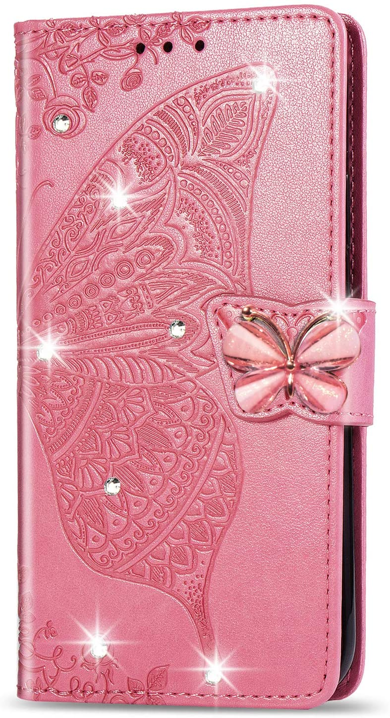ZYZX LG Stylo 5 Wallet Case,3D Butterfly Flower LG Stylo 5 PU Leather Flip Phone Shell, with Credit Cards Slot and Stand Shockproof Magnetic Protective Cover(Rhinestone Pink)