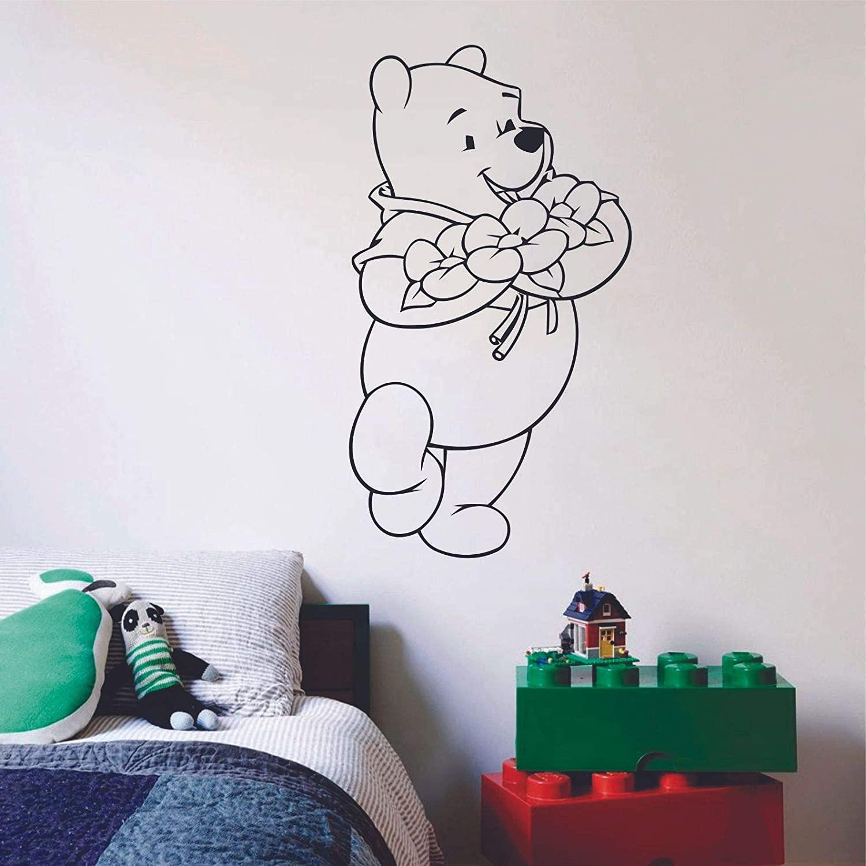 Winnie The Pooh Flowers Flower Children Cartoon Wall Sticker Art Decal for Girls Boys Room Bedroom Nursery Kindergarten House Fun Home Decor Stickers Wall Art Vinyl Decoration Size (20x18 inch)