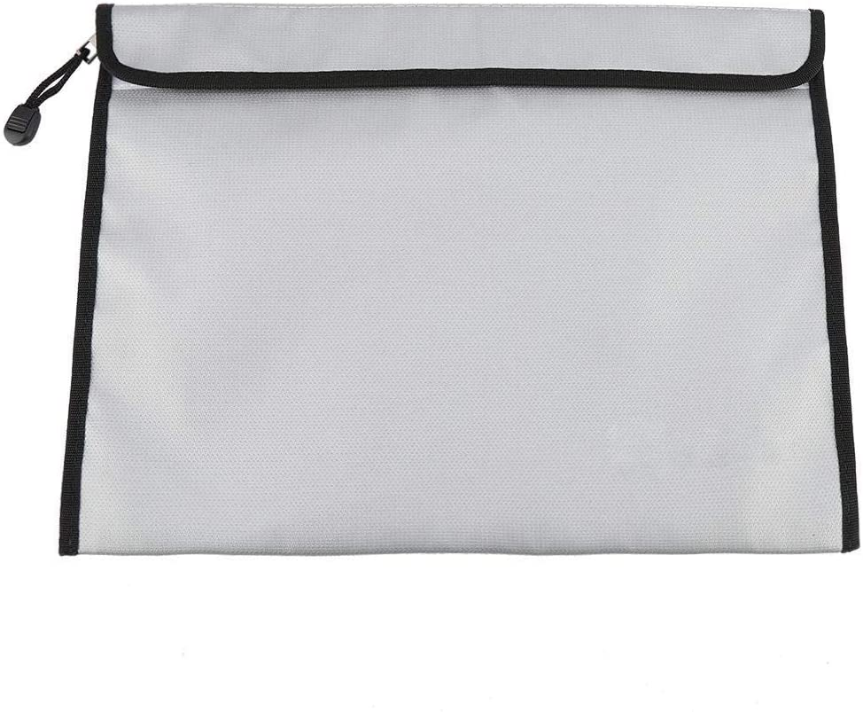Double-Sided Fireproof Bag, 38 × 28cm Fireproof Waterproof Document Bag File Envelope Safe Storage with Zipper Closure