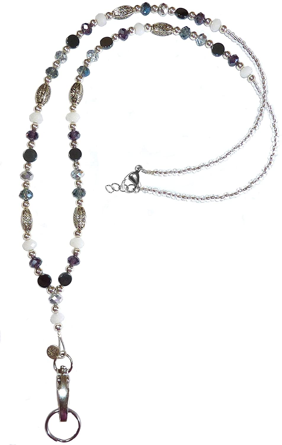 Artistic Multicolored Women's Beaded Fashion Necklace Lanyard, Made in USA, Slim and Beautiful, Super Durable for Badge, Keys, ID, 34 inches Long (Multi Non Breakaway (Stronger))