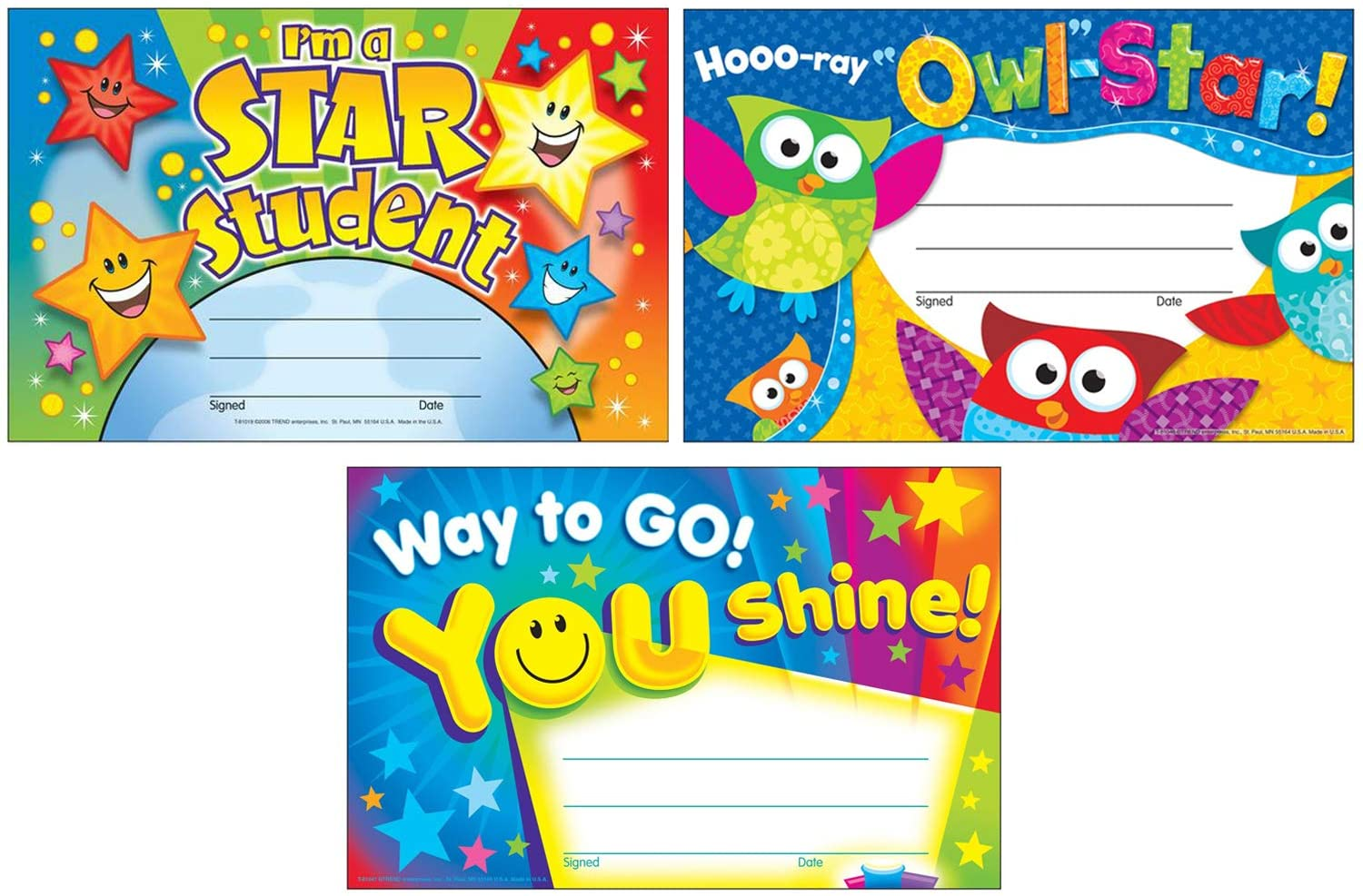 Colorful Recognition Award Certificates for Students and Professionals | I'm a Star Student, Hooo-ray Owl Stars, Way to Go You Shine | Set of 3 Items, Each Contains 30 Per Pack, 5.50 Inch x 8.50 Inch