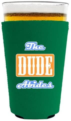 Coolie Junction The Dude Abides Funny Pint Glass Coolie Green