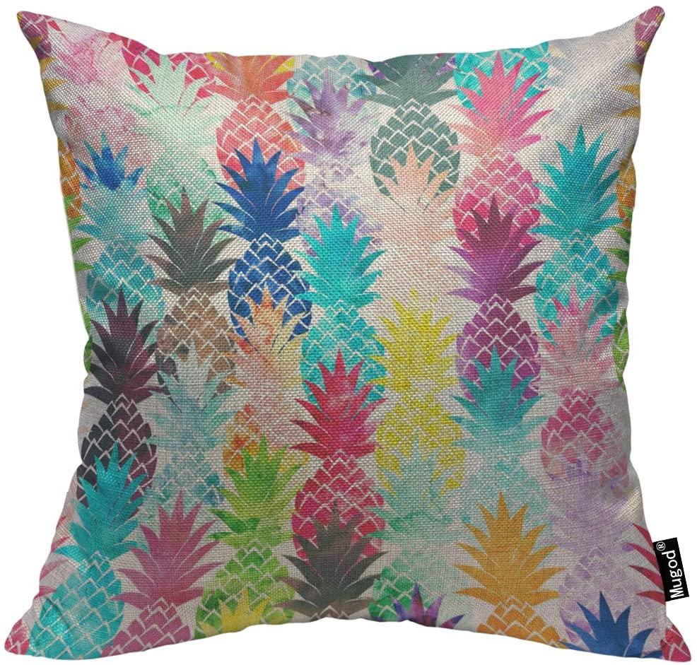 Mugod Pineapple Throw Pillow Case Art Doodle Graffiti Blue Pink Purple Yellow Green Orange Decorative Cotton Linen Square Cushion Covers Standard Pillowcase Couch Sofa Bed Men/Women 18x18 Inch
