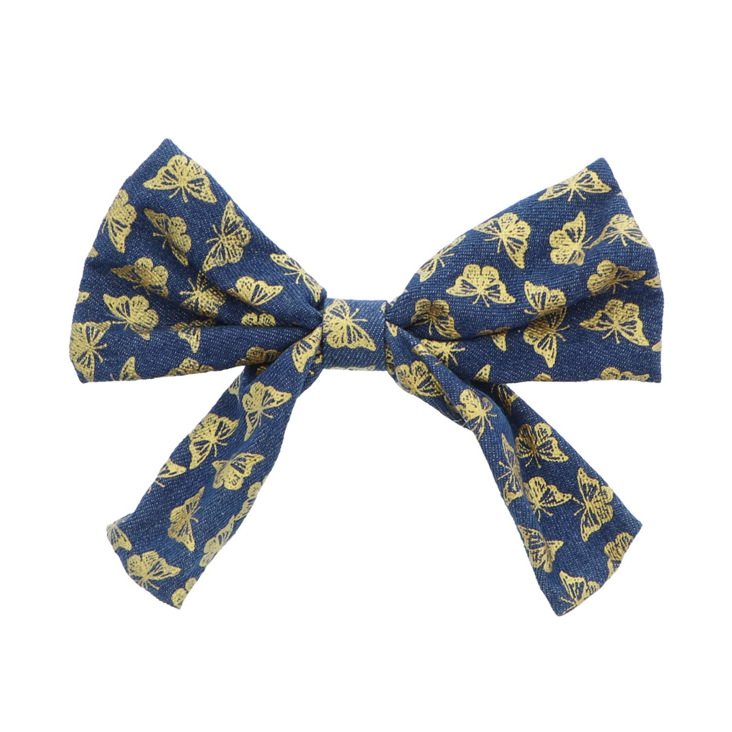 7.5 inch Bow With Butterflies Hair Clip For Woman And Girls - Denim