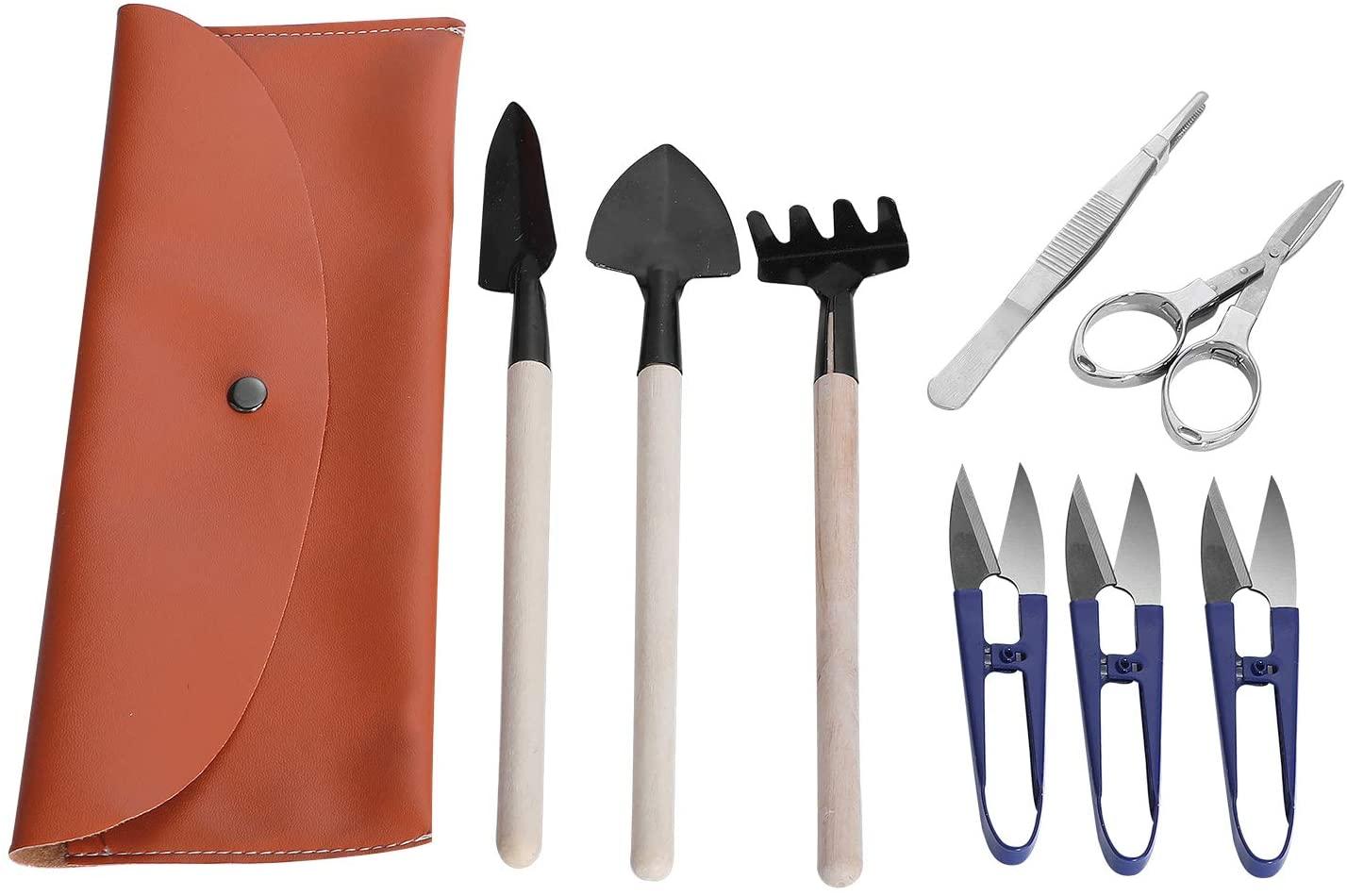 Bonsai Tool Kit 8 Pcs - Basic Trimmer Set Include Pruner, Fold Scissors, Tweezer, Spades and Rake by Sanlykate