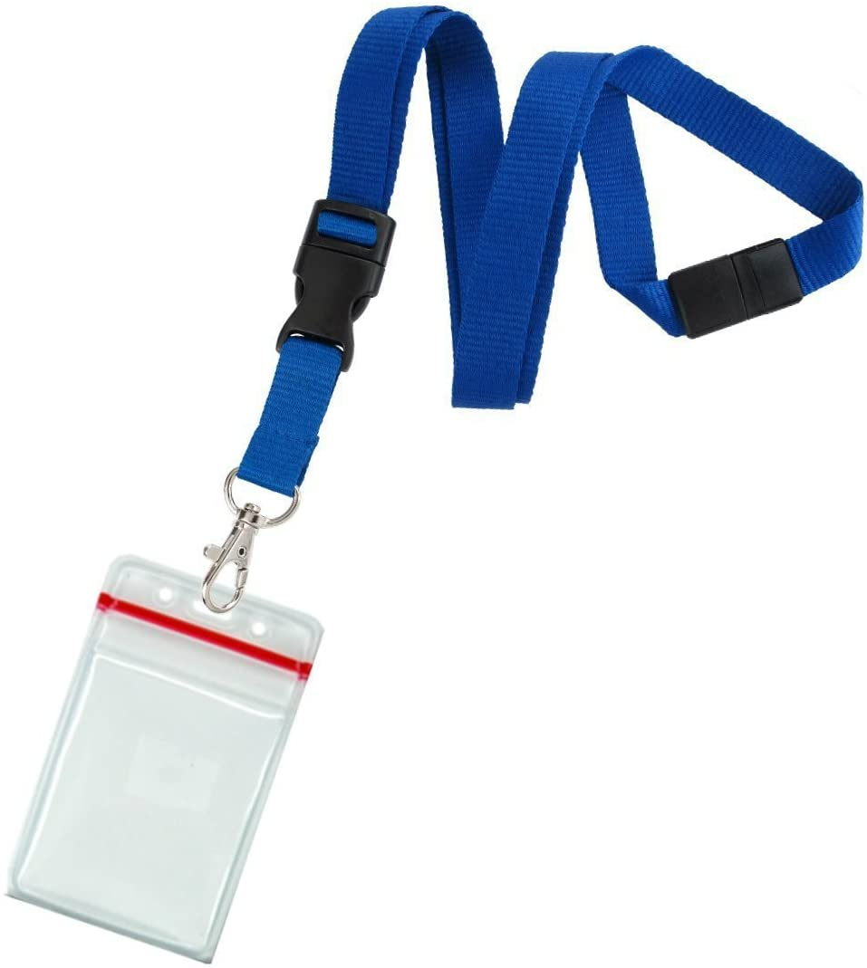 5 Pack - Premium Quick Release Lanyards with Detachable Buckle & Heavy Duty Waterproof Badge Holders by Specialist ID (Royal)