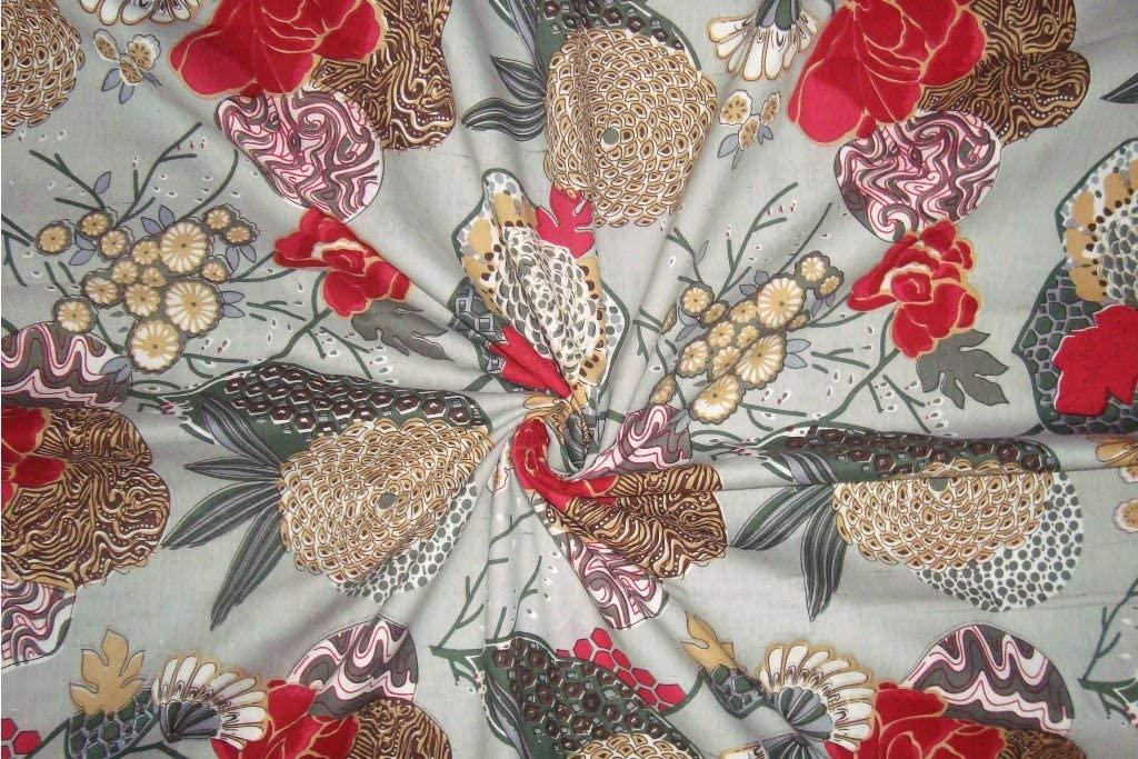 V Vedant Designs Indian Cotton Floral and Fruit Print Fabric Dressmaking Kurti Sofa Fabric 2.5 Yard
