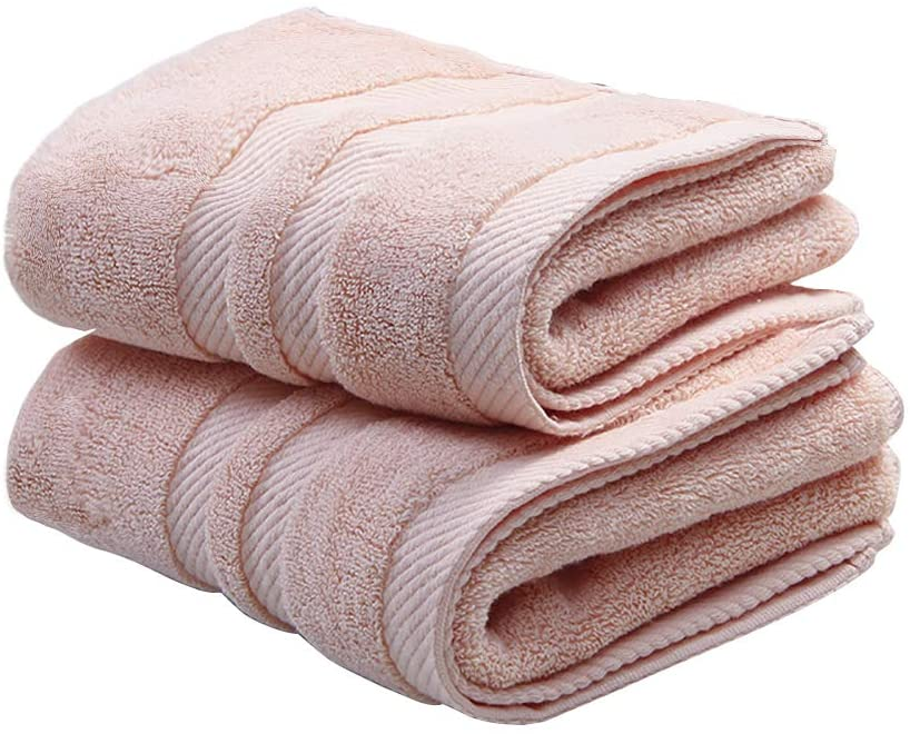STOUUW Cotton Hand Towels,High Softness and Absorbency Hand Towels for Bathroom,2 Packing Thicken Towels (Dark Pink)