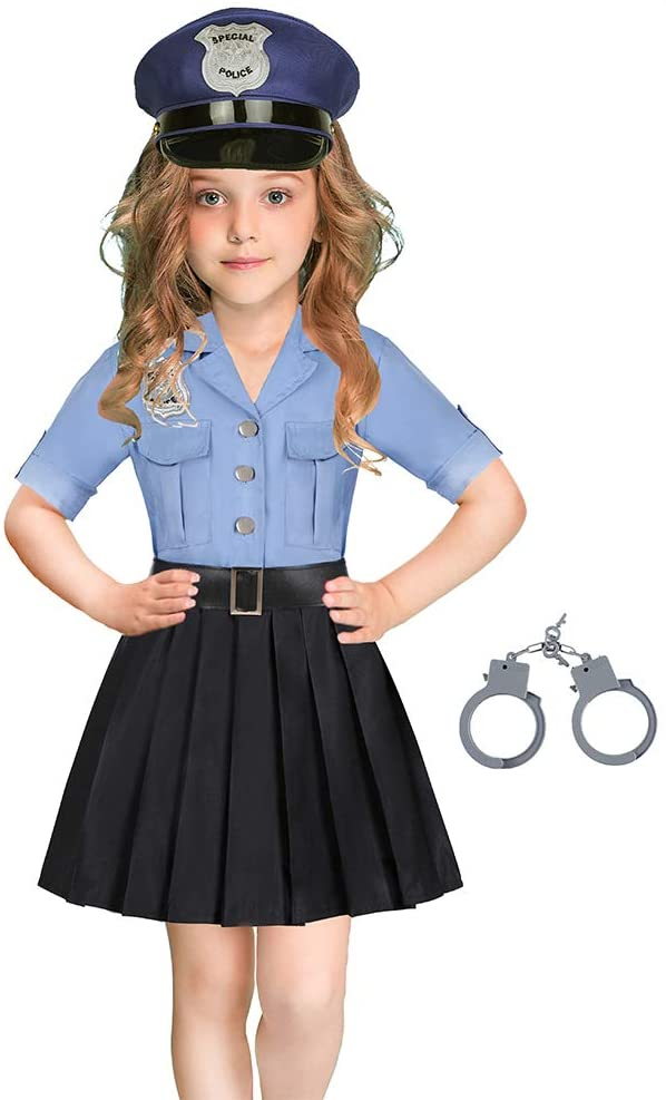 Kroy Police Officer Costume for Girls Halloween Cop Skirt Pretend Play Outfits (5-6X)