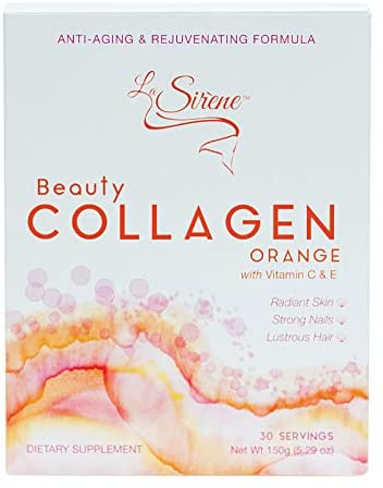 Orange Beauty Collagen (Marine) - with Vitamin C, E, CoQ10 and Pre-Biotic's - Premium Supplement Powder - Made in Japan