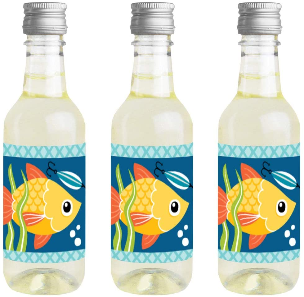 Big Dot of Happiness Let's Go Fishing - Mini Wine and Champagne Bottle Label Stickers - Fish Themed Birthday Party or Baby Shower Favor Gift for Women and Men - Set of 16