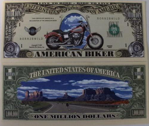 Set of 10 Bills-American Biker Million Dollar Bill by Novelties Wholesale