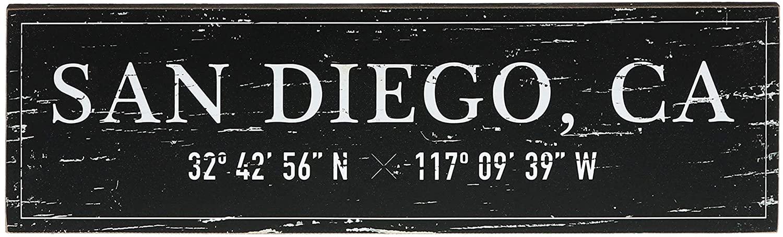 "Barnyard Designs San Diego, CA City Sign Rustic Vintage Wood Wall Art Home Decor 17"" x 5"""