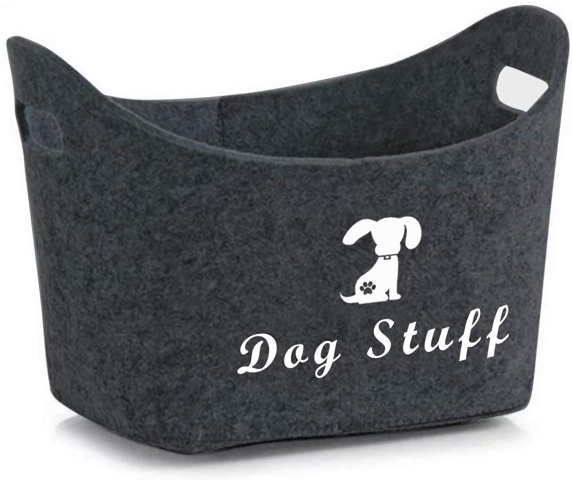 Brabtod Felt pet Toy Box and Dog Toy Box Storage with Handles pet Toy Basket - Idea for organizing pet Toys, Coats, Ropes, Dog chew Toys, Blankets, leashes and Any Dog Stuff