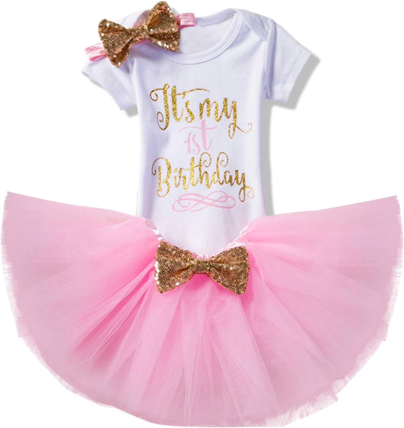 TTYAOVO Newborn Girls Its My 1st/2nd Birthday 4 Pcs Outfits with Romper&Skirt&Headband&Leggings