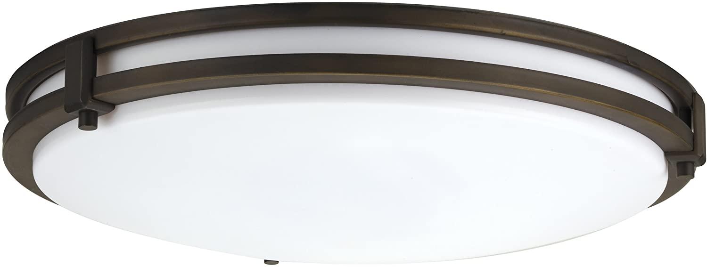Lithonia Lighting FMSATL 13 14840 BZA M4 LED Saturn Flushmount Ceiling Light Fixture for Kitchen   Hallway   Bedroom, Dimmable, 4000K, Antique Bronze