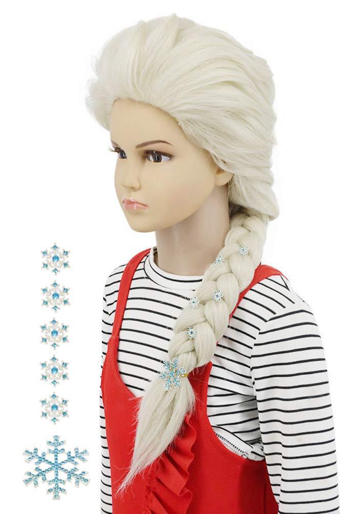 Karlery Kids Child Long Beige Curly Braided Wig Halloween Cosplay Costume Party Wig