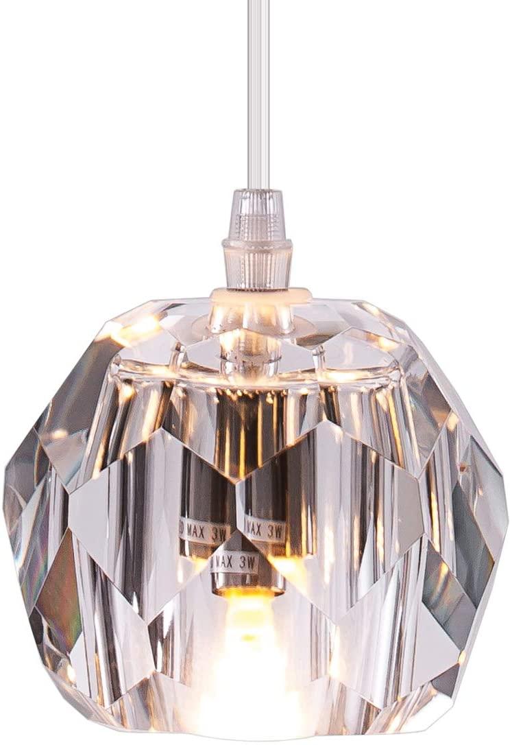 Modern Clear Crystal Globe Pendant Lighting for Kitchen Island, One-Light Indoor Decorative Fixture Ceiling Pendant Lighting for Hanging Above Dinning Room Living Room Bedroom, Nickle, UL Listed
