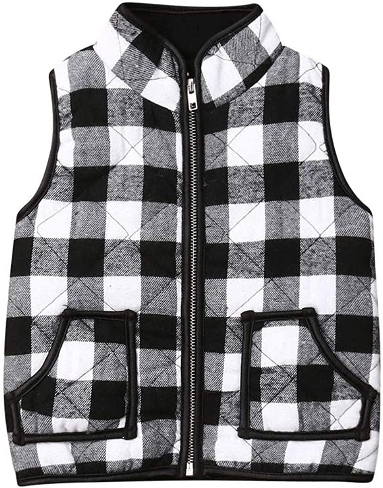 ToddlerBabyGirlsPlaid VestQuilted Jacket Kids FallWinter Zipper WaistcoatSleevelessTopCoatWarmOutwear