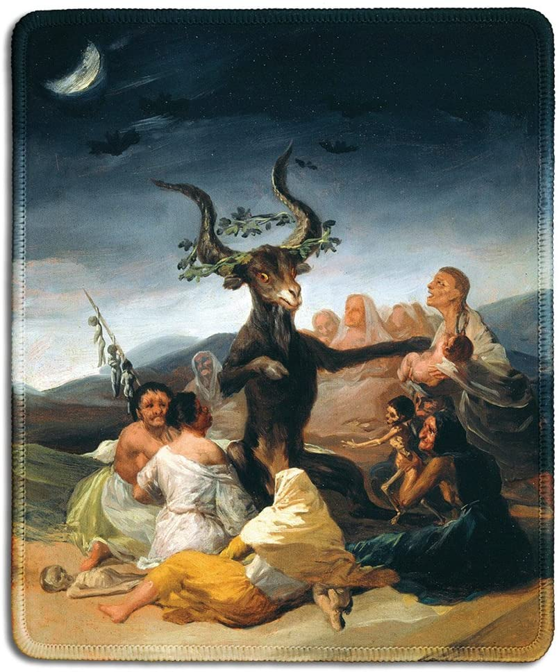dealzEpic - Art Mousepad - Natural Rubber Mouse Pad with Famous Fine Art Painting of Witches' Sabbath by Francisco Goya - Stitched Edges - 9.5x7.9 inches