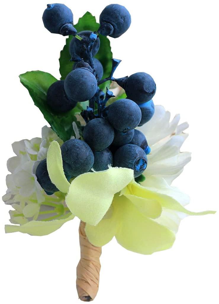 MOJUN Artificial Blueberries Boutonniere Suit Wedding Groom Groomsmen Brooch Rose Boutonniere, Pack of 1