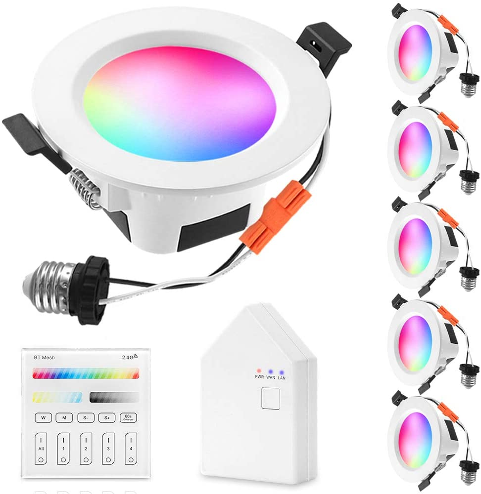 Smart LED Recessed Downlight with Touchscreen Smart Switch & Smart Bridge, FVTLED 6pcs Wireless Bluetooth Mesh 9W 4 inch 700LM 2700K-6500K Dimmable RGBWC Multicolor Color 5 in 1 Ceiling Spotlight