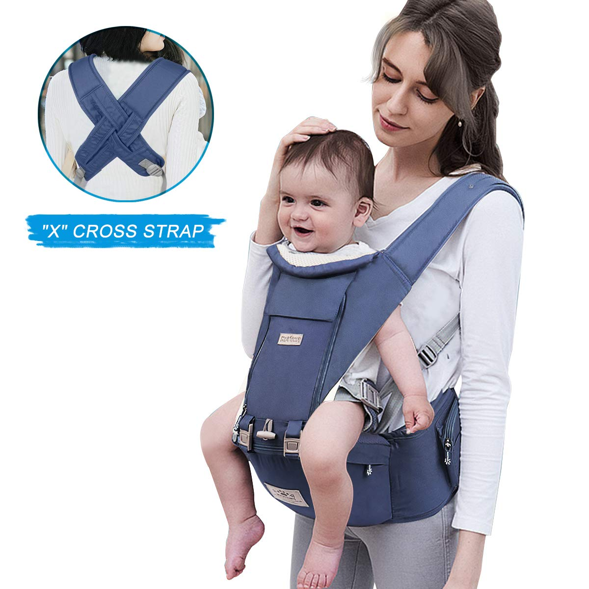 "FRUITEAM Baby Carrier, 6-in-1 Hip Seat Baby Carrier, ""X"" Cross Strap Baby Carrier, Easy to Put 0n, Comfortable and Safe (Eveningmist Blue)"