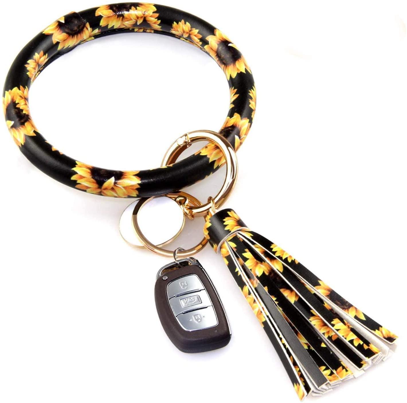 Keychain Bracelet, Leather Wristlet Keyring Bangle Bracelet with Tassel, Oversize Round Key Chain Wrist Bracelet for Women Girls, Perfect for Birthday, Valentine's Day Gift