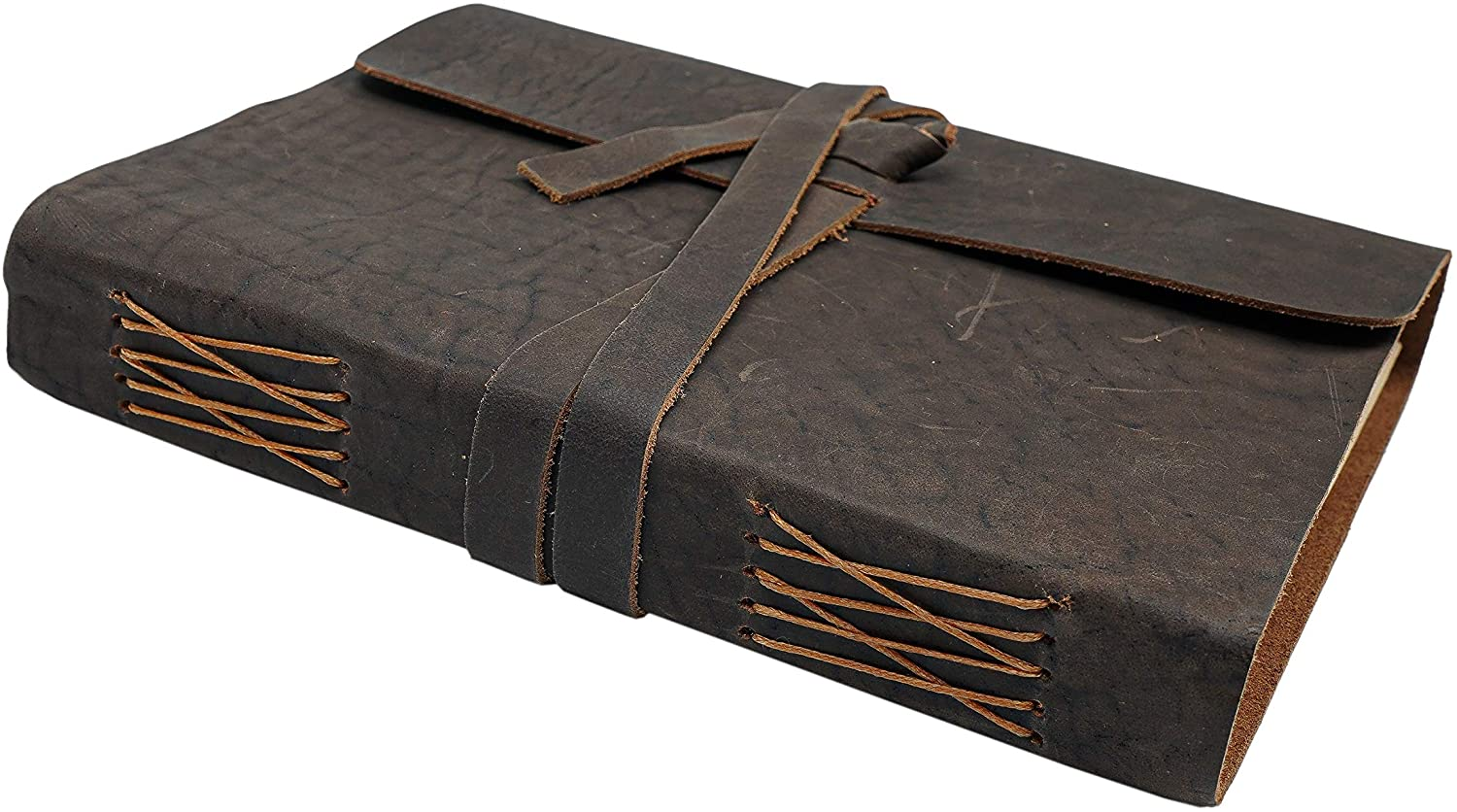 Leather Journal Unlined Paper- Handmade Leather Bound Writing Notebook (6x8 in), Leather Journal for Men & Women, Poetry Journal, Lined Journal Notebooks & Journals to Write in for Women, Mens